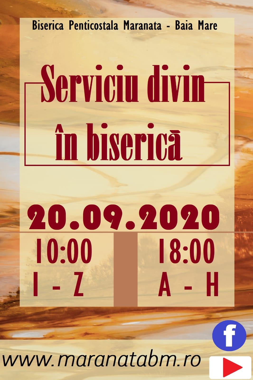 Serviciu divin in biseria - Duminica, 20 Septembrie, 2020