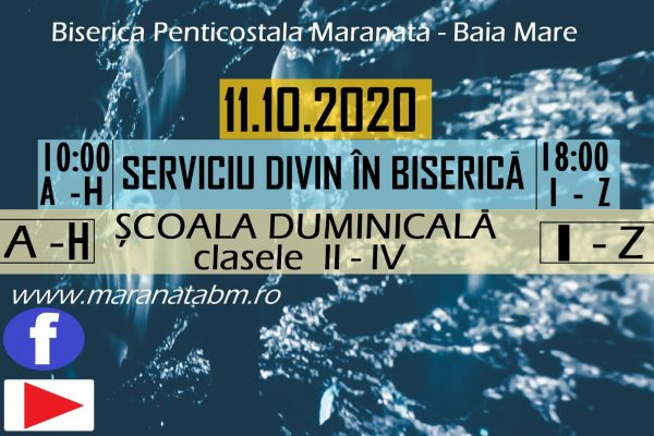 Serviciu divin în Biserică - 11.10.2020