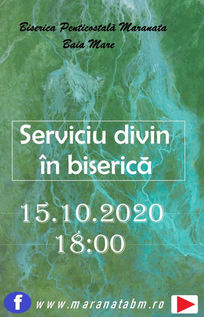 Serviciu divin în biserică 15.10.2020 / ora 18:00