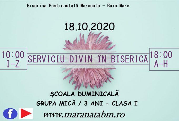 Serviciu divin în biserică 18.10.2020