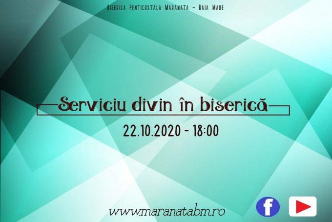 Serviciu divin în biserică 22.10.2020 - 18:00