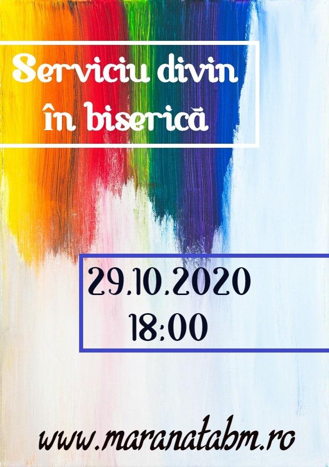 Serviciu divin în biserică 29.10.2020 – 18:00