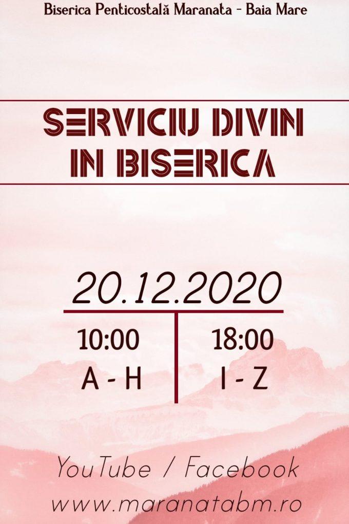 Serviciu divin în Biserică - 20.12.2020
